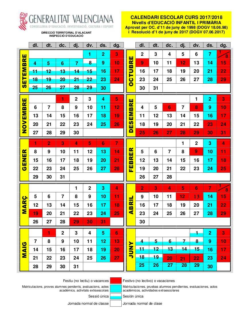 Calendario Escolar Valladolid 2020.Calendario Escolar Alicante 2019